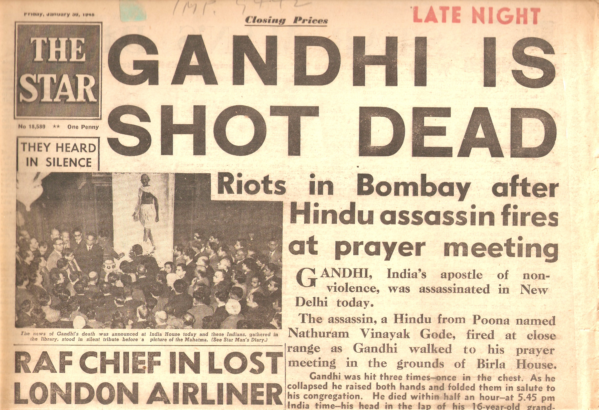 1948-01-30 Gandhi assassinat journal